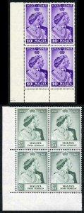 Malaya Negri Sembilan 1948 Royal Silver Wedding SG40/1 U/M (MNH) BLOCK OF 4