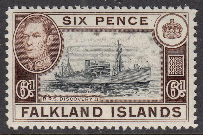 Falkland Islands KGVI 1938 6d Black Sepia SG155a Mint Never Hinged
