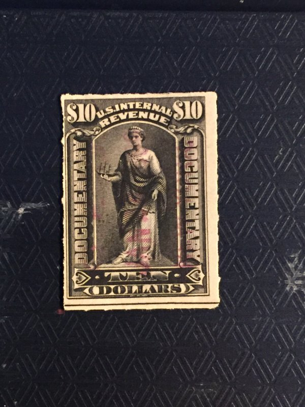 1898, $10, double line USIR, black, rouletted 5.5,