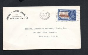 TRINIDAD & TOBAGO 1935 JUBILEE 6c VALUE ON COVER TO USA