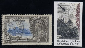 Gibraltar, SG 114d, used Flagstaff on Right Hand Turret variety, 2013 RPS