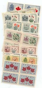 Canada USC #417-429A Mint VF-NH Blocks of Four - Flowers and Coats of Arms