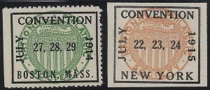 1914-15 Boston & NY Philatelic Convention Cinderella Poster Stamps/Labels MNH
