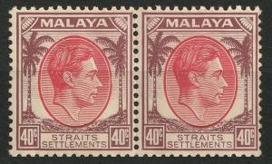 Malaya Straits Settlements 1937 KGVI 40c pair Mint M1973