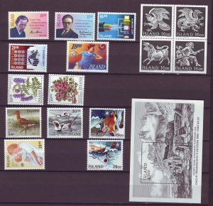 Z884 JLstamps 1988 iceland mnh year set #654-up