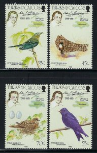 Turks and Caicos Islands Scott 651-654 Mint Never Hinged - John J. Audubon Birds