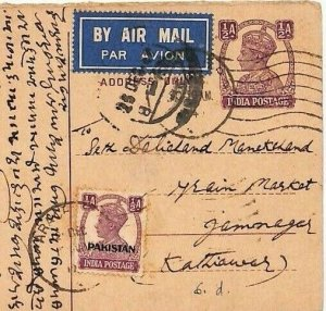 PAKISTAN India TRANSITION PERIOD Cover Airmail Postcard CHRISTMAS DAY 1949 AD221