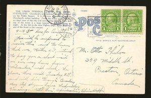 USA 552 Pair Postmarked 1935 Cleveland Ohio BUY SAVINGS BONDS Linen Postcard
