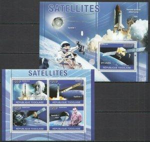 TG1264 2010 TOGO SPACE EXPLORATION SATELLITES TSIOLKOVSKY KOROLEV BL+KB MNH