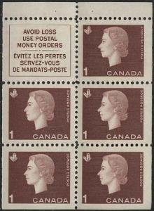 Canada - 1963 1c Cameo Booklet Pane mint #401a VF-NH