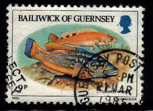 GUERNSEY  SC# 308 **USED** 9p  1984-85  FISH SEE SCAN
