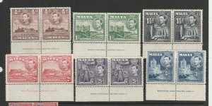 Malta 1938/43 6 vals MM in Imprint pairs as shown
