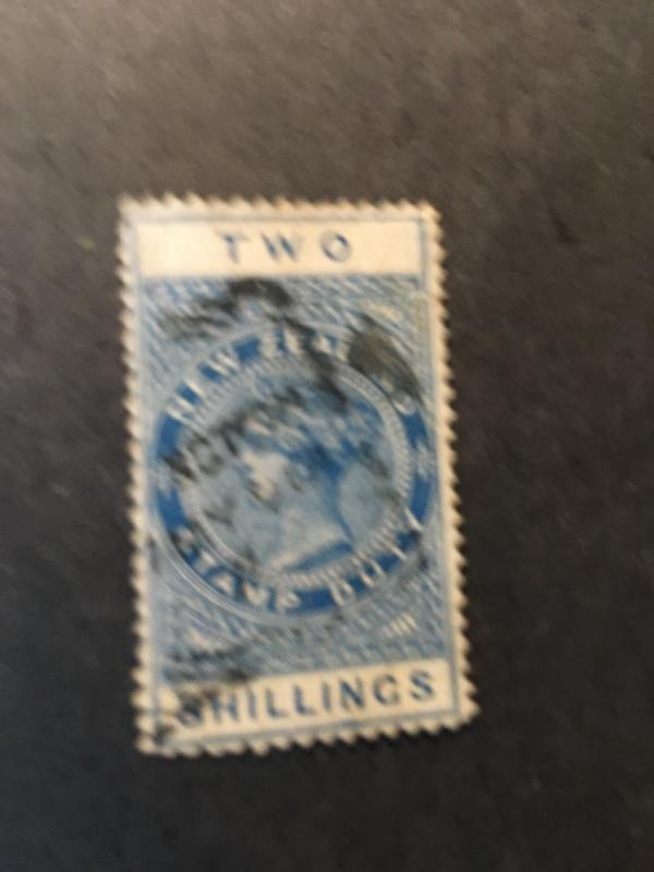 New Zealand 2015Sc. #AR1 Fine Used Cat. $20. 1882 Two Shillings BlueFiscalStamp