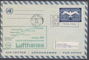 USA UN FRANKING 1966 first flight aerogramme NY to Santiago Chile...........7162