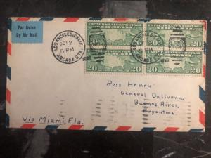 1929 Los Angeles Usa First Flight cover FFC to Buenos Aires Argentina Via Miami