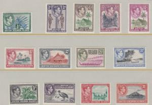 BRITISH SOLOMON ISLANDS 1939-51  SG 60-72  SET OF 13  MH C£95 SOME LIGHTLY TONED