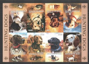 J1530 IMPERF 2003 BENIN HUNTING DOGS FAUNA ANIMALS PETS KB MNH
