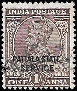 INDIA PATIALA  SC# O52  -  USED - NICE ALBUM SPACE FILLER