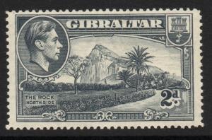 GIBRALTAR SG124 1938 2d GREY P14 MTD MINT