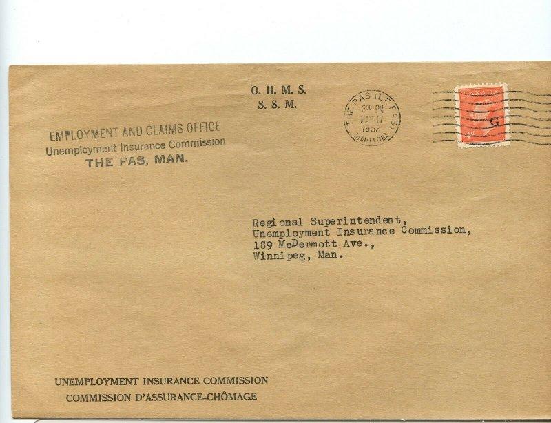 OHMS G overprint 1952 Post Postes George VI cover Canada