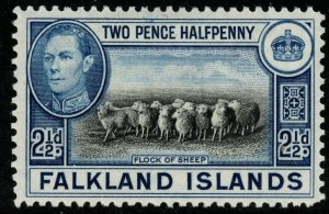 FALKLAND ISLANDS SG151 1938 2½d BLACK & BRIGHT BLUE MTD MINT