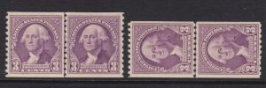 721 & 722 Set Line Pairs XF OG mint never hinged with nice color ! see pic !