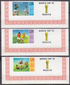 1974 Barbuda 175-177b+Tab rare 1974 World championship on football of Munich