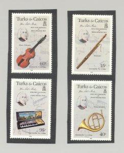 Turks & Caicos #682-683, 685-686  Bach, Composer 4v   Proofs