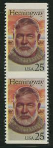 #2418a 25c HEMINGWAY VERT PAIR, IMPERF HORIZ MAJOR ERROR VERY RARE BU7150 JN