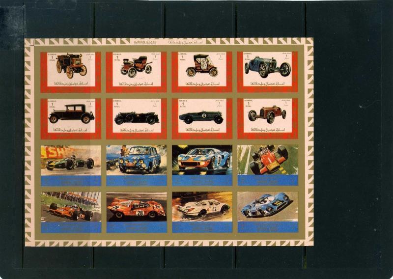 Ajman MNH S/S Transportation Cars Imperf. 1973 Large Size