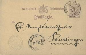 Germany Wurttemberg 5pf Numeral Amtlicher Verkehr Official Postal Card 1887 T...