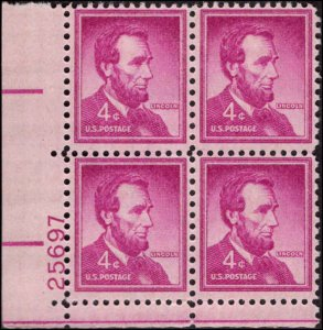 US #1036a ABRAHAM LINCOLN MNH LL PLATE BLOCK #25697 DURLAND .50¢