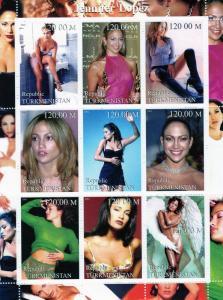 Turkmenistan 2001 Jennifer Lopez Shlt (9) Perf.MNH VF