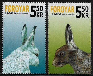 Faroe Is #454-5 MNH Set - Rabbits