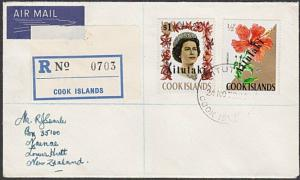 AITUTAKI 1972 Registered cover to New Zealand - opts on Cook Islands.......28068