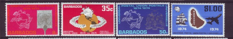 J23953 JLstamps 1974 barbados set mnh #412-5 upu
