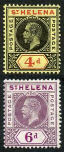 St Helena SG85/6 KGV set of 2 on ordinary paper M/Mint (hinge remainder)