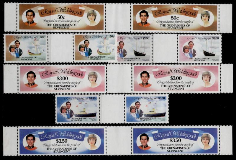 St Vincent Grenadines 209-14 gutter pairs MNH Prince Charles, Princess Diana