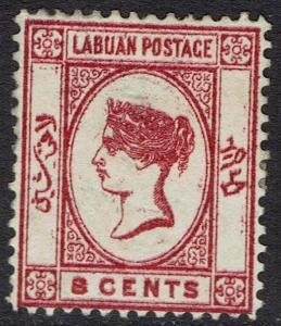 LABUAN 1880 QV 8C WMK CROWN CC REVERSED