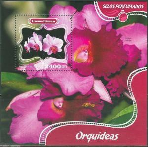 GUINEA BISSAU 2014 FLOWERS ORCHIDS SCENTED SOUVENIR SHEET