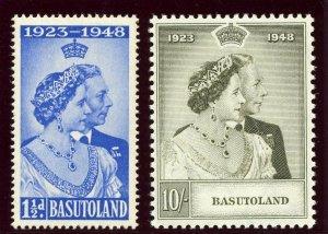 Basutoland 1948 KGVI Silver Wedding set complete MLH. SG 36-37. Sc 39-40.