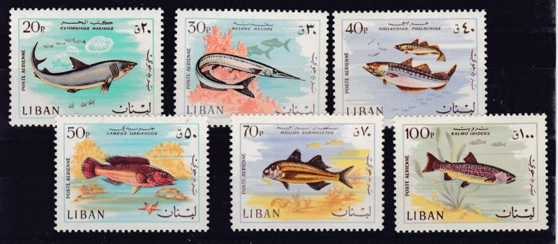 Lebanon 1968 Fish Shark Air mails Complete (6)  VF/NH(**)