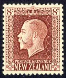 New Zealand Sc# 157 MH 1922 8p red brown King George V