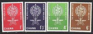 Ghana. 1962. 134-37. Malaria control, mosquitoes. MNH.