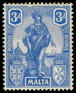 MALTA SG130a, 3d brt ultramarine, M MINT. FRAME BREAK.