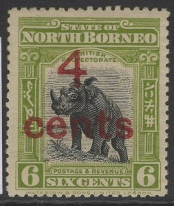 NORTH BORNEO SG187 1916 4c on 6c BLACK & OLIVE-GREEN p13½-14 MTD MINT