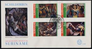 Surinam 454-7 on FDC - Art, Paintings, Chess Players