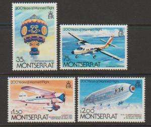 Montserrat SG 586 - 589 set of 4  Mint Light Hinge -  Fli...