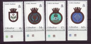J19606 Jlstamps 1983 gibraltar set mnh #449-52 navy ships crest
