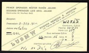 QSL QSO RADIO CARD LU9MW,Rivadavia(Mendoza),  R. Argentina (Q2653)